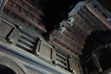 Geometric church paintings inside Yemrehanna Kristos.