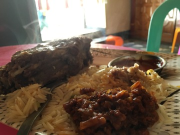 One of the many enormous meals I had in Harar. This one is half-eaten already but could still be a mean in itself.