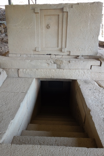 A false door created to deter potential grave robbers.