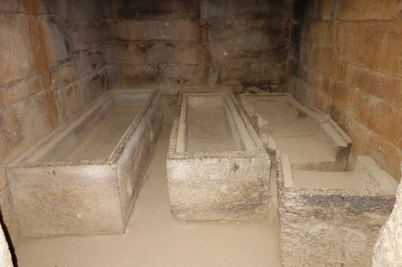Sarcophagi inside King Gebre Meskel's tomb.