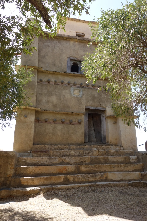 The ancient bell tower of Debre Damo.