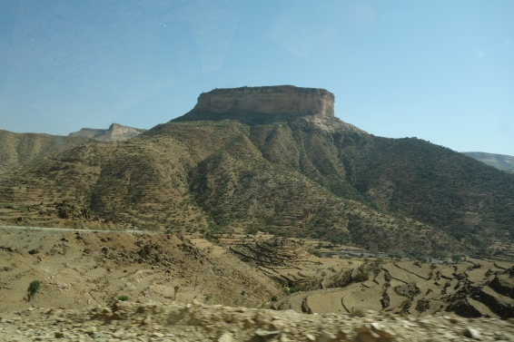 "The monastary of Debre Damo sits atop a flat topped mountain (locally known as an ""amba"") of the same name."