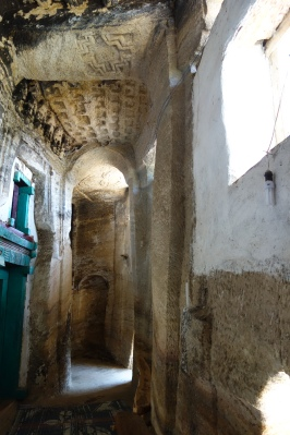 The passageway between the original and modern facades. Like many churches in Ethiopia, this one underwent slight renovations in the 1800s or 1900s.