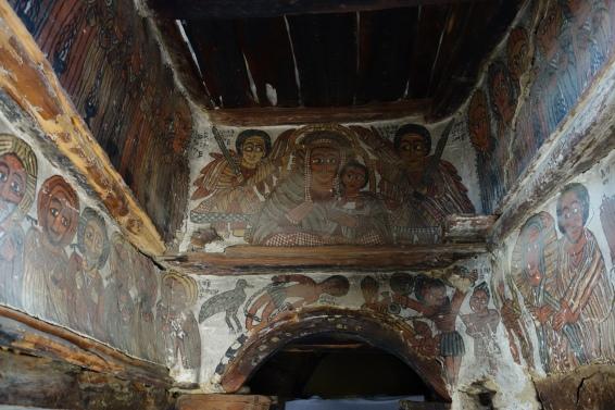Frescos inside the dark but well-preserved church.