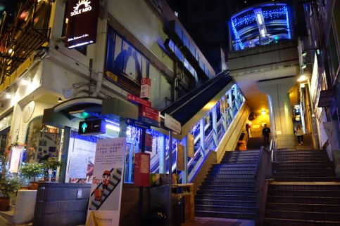 One of the many entrances to the Mid-Levels escalators.