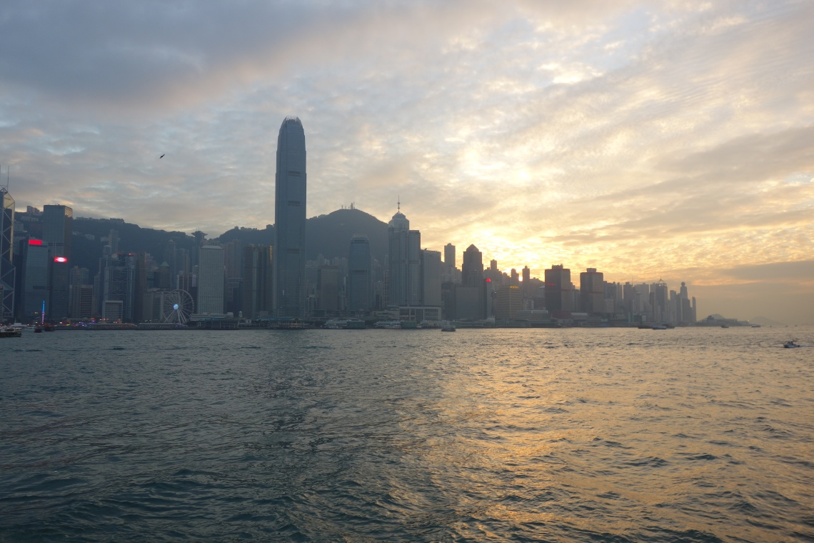 hong kong skyline sunset