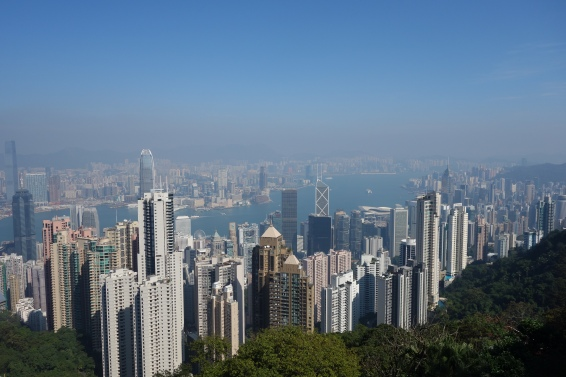 The view from Victoria Peak allows you to see all along the harbour.