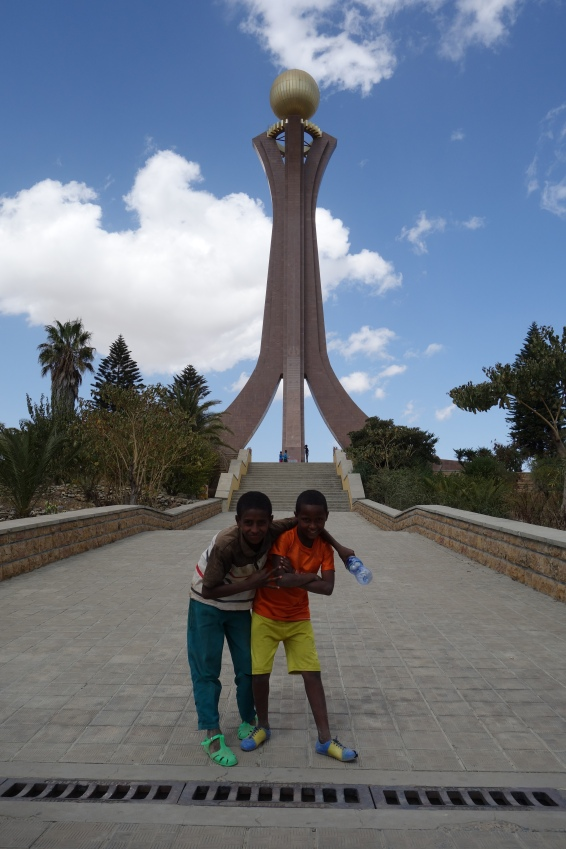 These kids wanted a photo outside the TPLF Martyrs' Memorial...