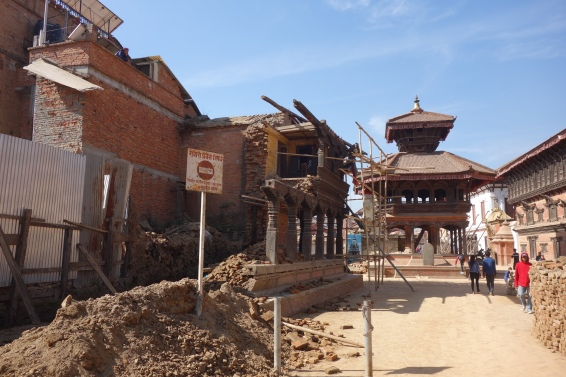Durbar Square in Bhaktapur is still in ruins from the 2015 earthquake.
