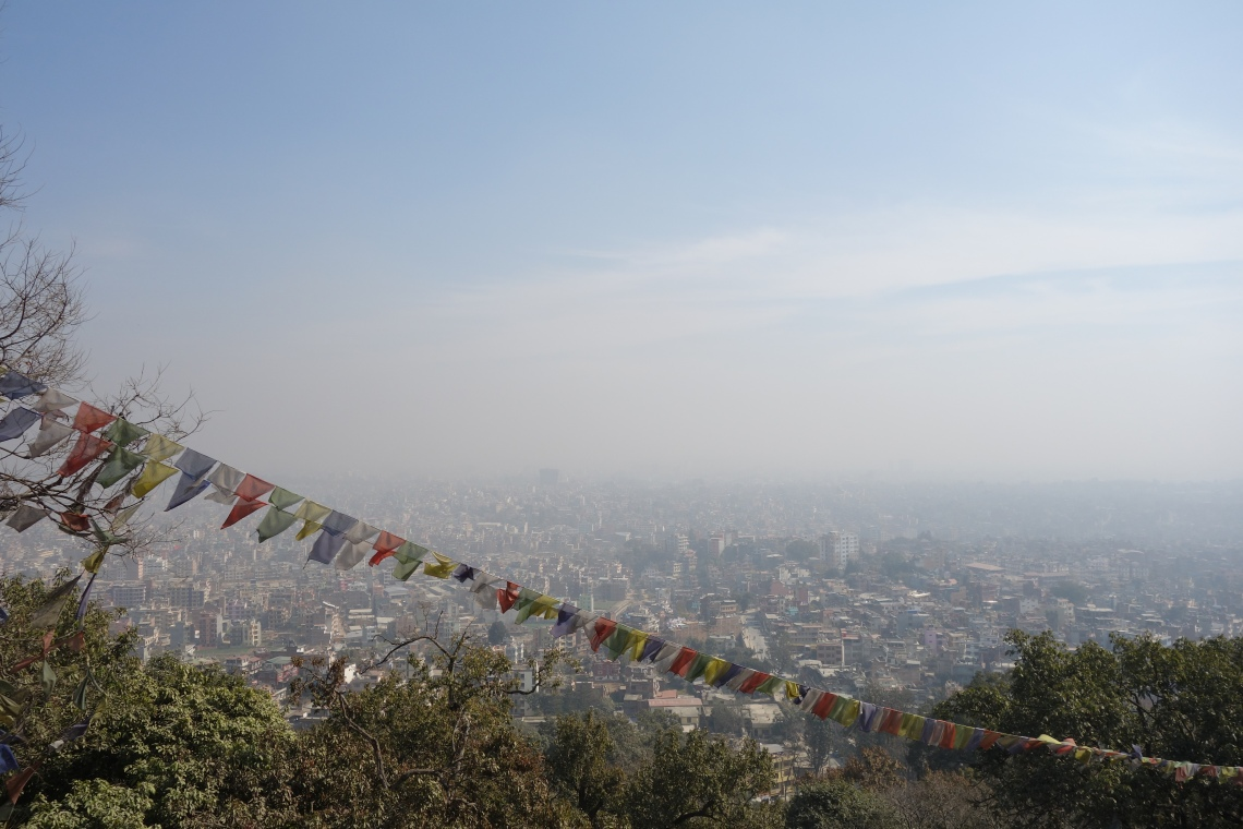 kathmandu skyline nepal prayer flags travel blog
