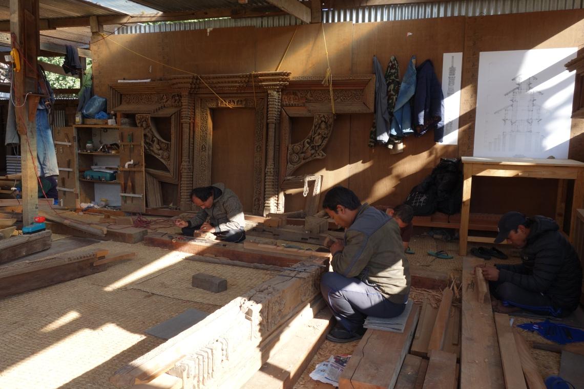nepal restoration woodwork kathmandu patan durbar square