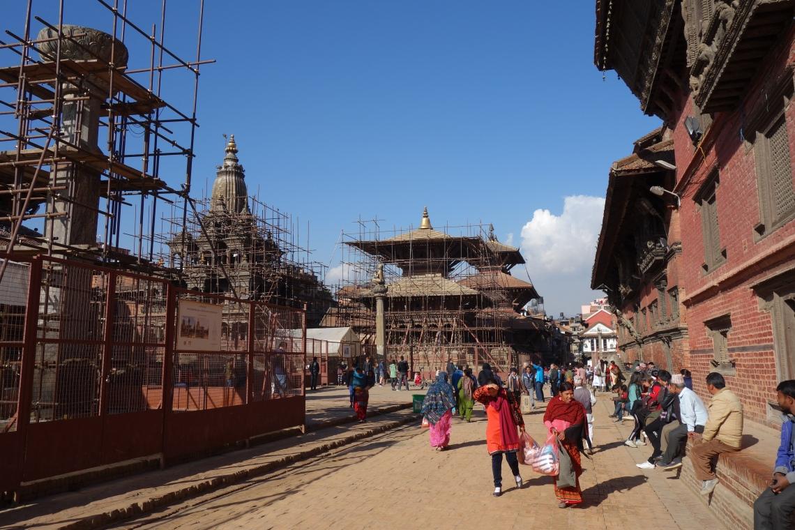 patan durbar square kathmandu reconstruction scaffolding
