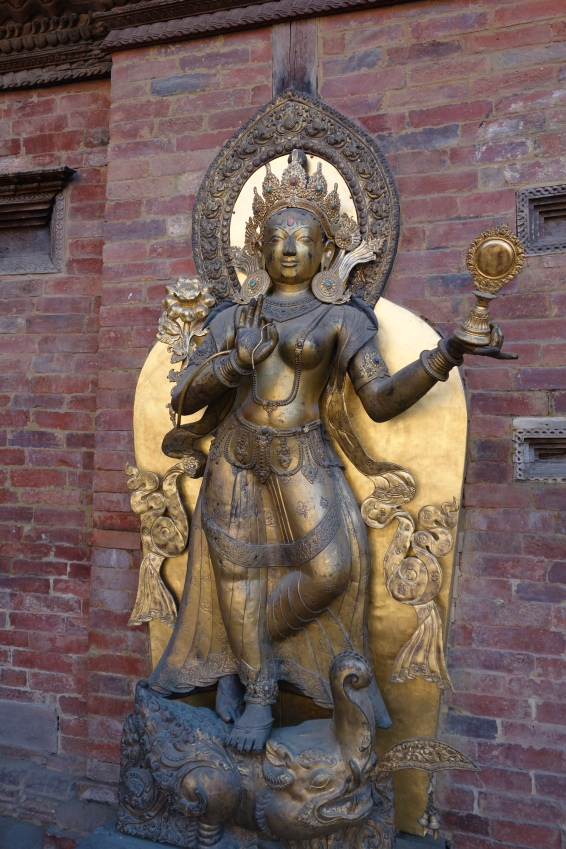 A Hindu sculpture at Patan Museum, in the grounds of the former palace.