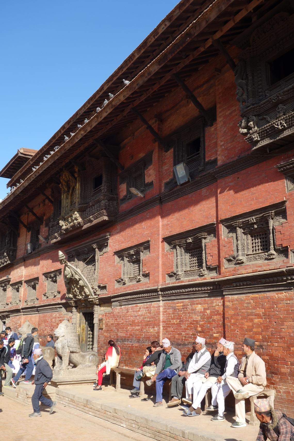 patan durbar square museum newari men nepal