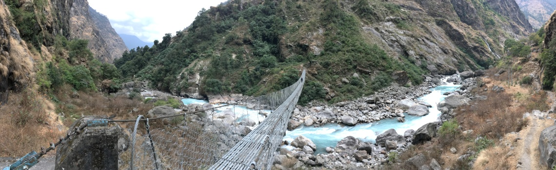 chamje suspension bridge annapurna circuit nepal himalayas
