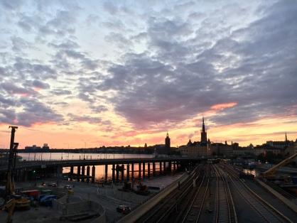 Sunset over Stockholm's locks, which were all under rennovation unfortunatly.