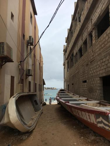 Fishing boats in the laneways of Ngor.