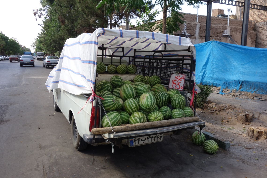 kashan iran watermelons pickup truck food blog